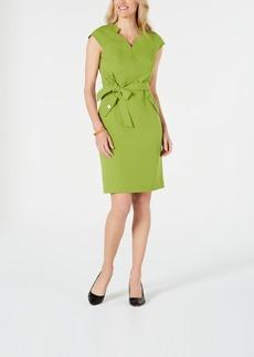 Kasper Belted Cap-Sleeve Dress