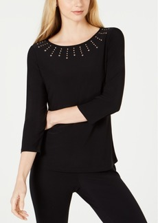 Kasper Embellished-Neck Top