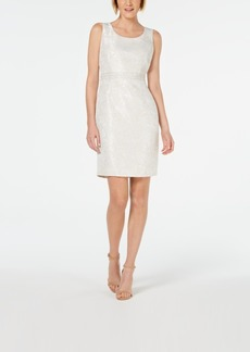 Kasper Embellished-Waist Jacquard Sheath Dress