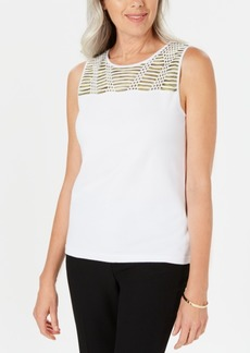 Kasper Petite Contrast-Yoke Sleeveless Top