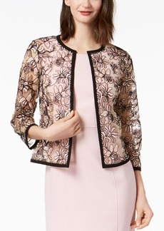 Kasper Embroidered Floral-Mesh Jacket