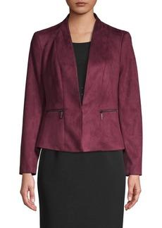 Kasper Faux-Suede Button Jacket