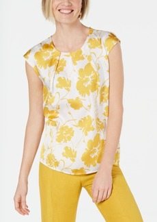 Kasper Floral-Print Pleat-Neck Top