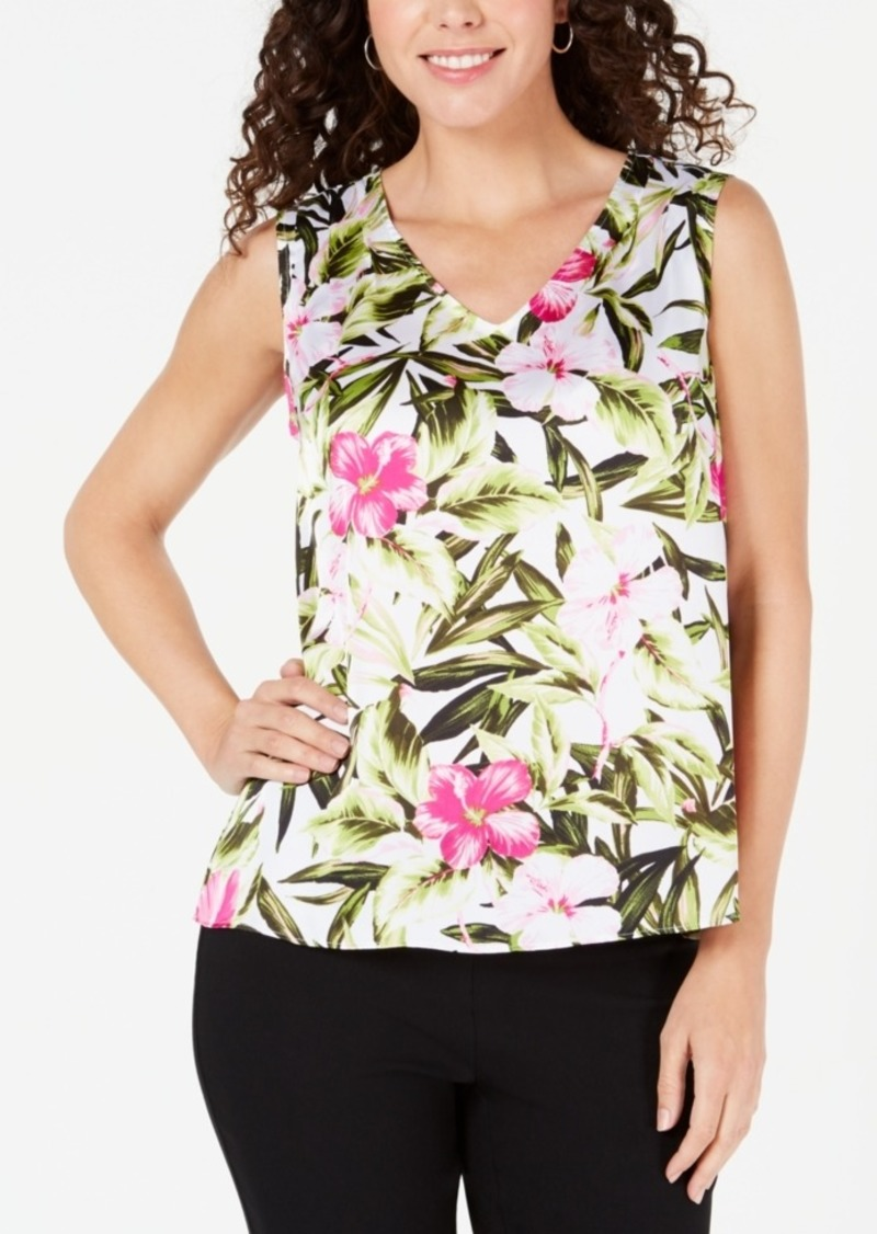 Kasper Floral-Print Sleeveless Top