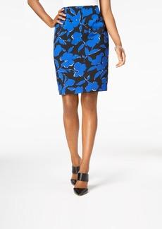 Kasper Floral-Print Slim Skirt