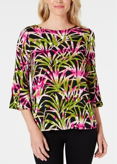 Kasper Petite Tropical-Print Bell-Sleeve Top