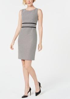 Kasper Geo-Print Contrast-Trim Dress