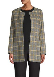 Kasper Jewel-Neck Plaid Wool-Blend Jacket