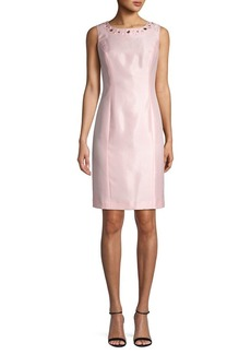 Kasper Jewelneck Sheath Dress