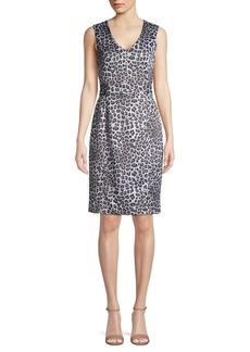 Kasper Leopard-Print Knee-Length Dress