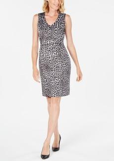 Kasper Leopard-Print Sheath Dress
