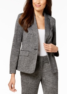 Kasper One-Button Herringbone Jacket with Elbow Patches