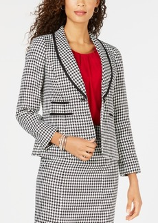 Kasper One-Button Houndstooth Blazer