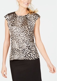 Kasper Animal-Print Cap-Sleeve Top