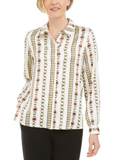 Kasper Chain-Print Collared Button-Up Shirt