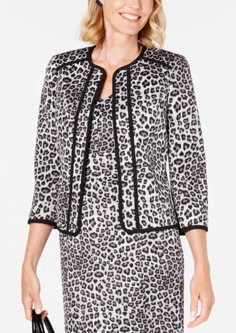 Kasper Leopard-Print Open-Front Jacket