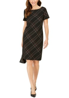 Kasper Plaid Printed Sheath Dress