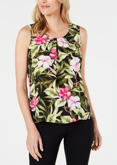 Kasper Petite Floral-Print Pleated Top