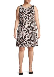 Kasper Plus Animal-Print A-Line Dress