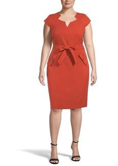 Kasper Plus Belted Sheath Dress