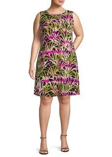 Kasper Plus Palm Leaves Shift Dress