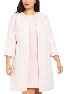 Kasper Plus Size 3/4-Sleeve Marble Floral Topper Jacket
