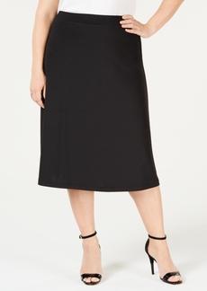 Kasper Plus Size A-Line Midi Skirt