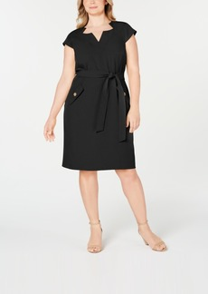 Kasper Plus Size Belted Stretch Crepe Dress