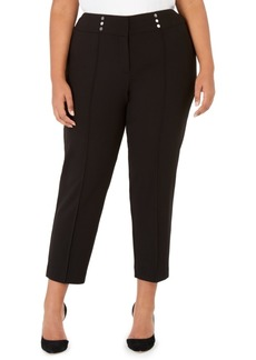 Kasper Plus Size Button-Detail Pants