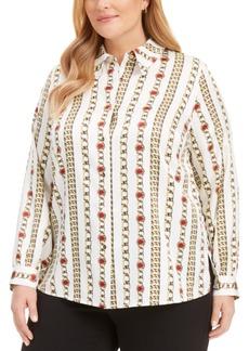 Kasper Plus Size Chain-Link Satin Button-Up Shirt