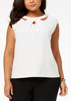 Kasper Plus Size Crossover Cutout Top