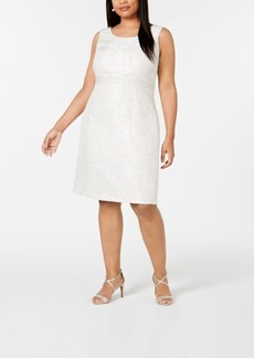 Kasper Plus Size Embellished-Waist Jacquard Sheath Dress