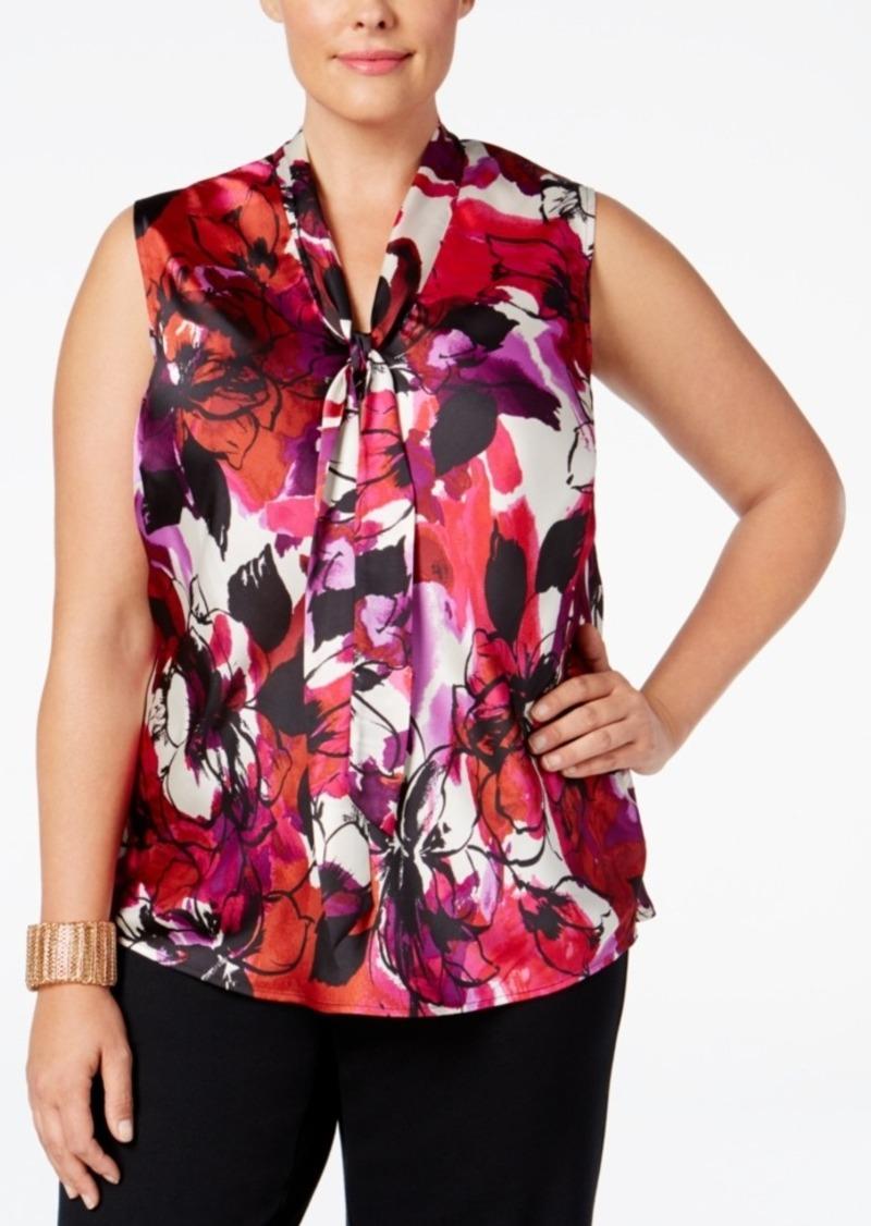 39a06e03fc4 Kasper Kasper Plus Size Floral-Print Tie-Neck Blouse