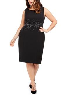 Kasper Plus Size Jeweled Stud Sheath Dress