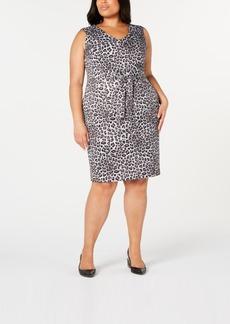 Kasper Plus Size Leopard-Print Tie-Front Sheath Dress