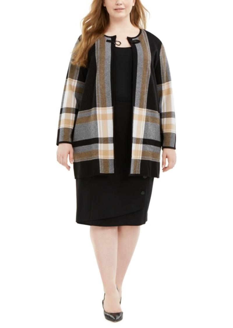 Kasper Plus Size Plaid Buckle-Front Topper Jacket