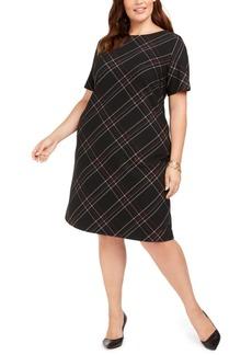 Kasper Plus Size Plaid-Printed Sheath Dress