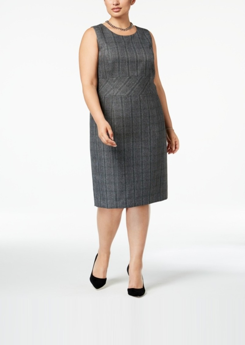 Plus Size Plaid Sheath Dress