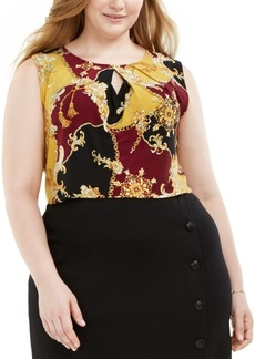 Kasper Plus Size Printed Keyhole-Cutout Top