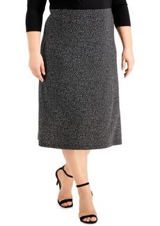Kasper Plus Size Printed Midi Skirt