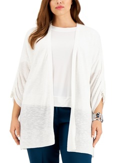 Kasper Plus Size Ruched-Sleeve Cardigan