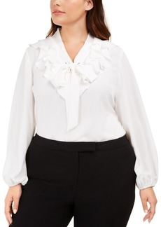 Kasper Plus Size Ruffled Tie-Neck Top