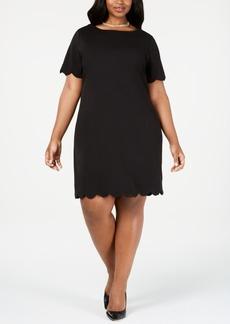 Kasper Plus Size Scalloped Scuba Dress