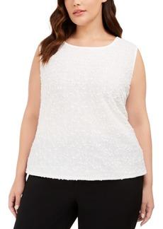 Kasper Plus Size Sequined Textured Top