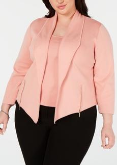 Kasper Plus Size Shawl-Collar Moto Cardigan