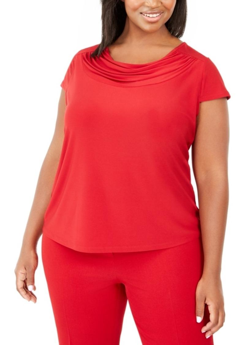 Kasper Plus Size Short-Sleeve Cowl-Neck Top
