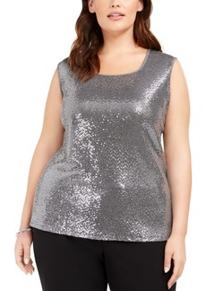 Kasper Plus Size Square-Neck Metallic Top