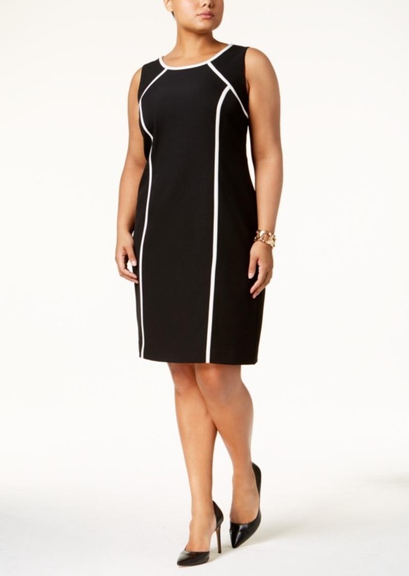 0c6dcb2fc3 Kasper Kasper Plus Size Stretch-Crepe Piped Sheath Dress