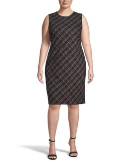 Kasper Plus Size Striped Sheath Dress