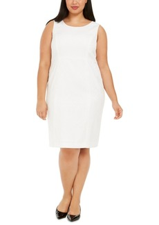 Kasper Plus Size Text Leaf Jacquard Dress